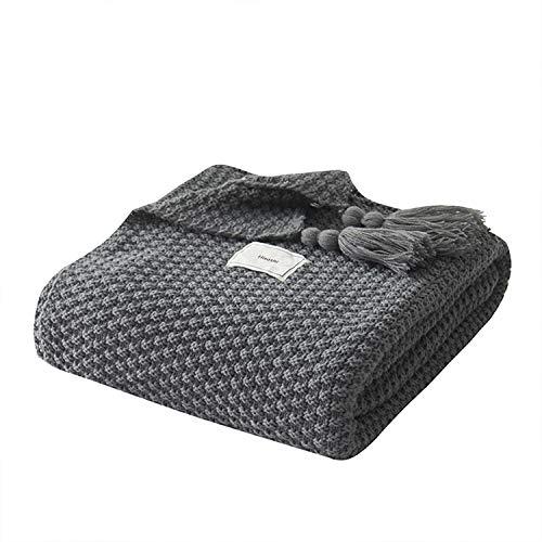 Hisashi 高級 毛布 ニット ブランケット 北欧 掛け毛布 大判 防寒 肩掛け 海外 プレゼント ひざ掛け 通年使用 フリンジ付 かわいい 暖かい