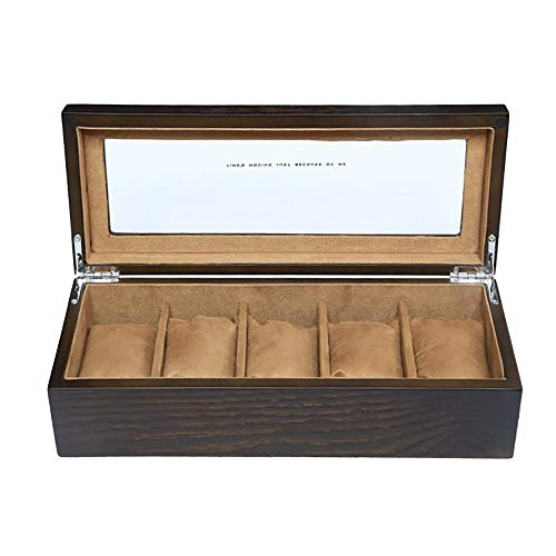 NEWTRY 永遠の定番 腕時計収納ケース 腕時計収納ボックス コレクションケース 5本用 男女兼用 ショッピング 高級 木製 ブラウン