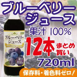 お得なまとめ割!ブルーベリー100%ジュース<濃縮還元> 720ml×12本