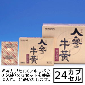 【第3類医薬品】「送料無料」「ポイント15倍」湧永 人参牛黄カプセル 24カプセル