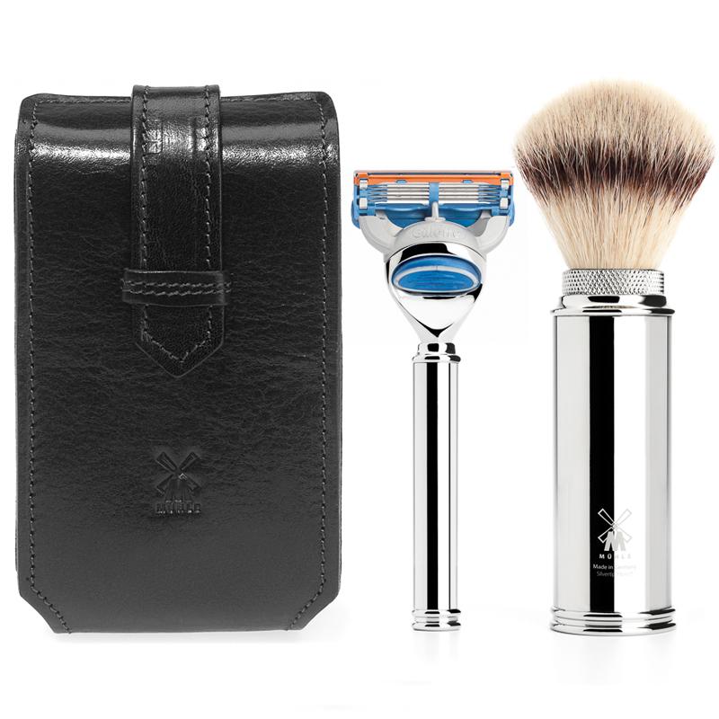 ミューレ トラベルシェービングキット(ブラック)/Fusion対応 イタリアンレザーケース (RT3F) [髭剃り カミソリ シェービング 剃刀 ジレット 旅行 持ち運べる シェービングブラシ]