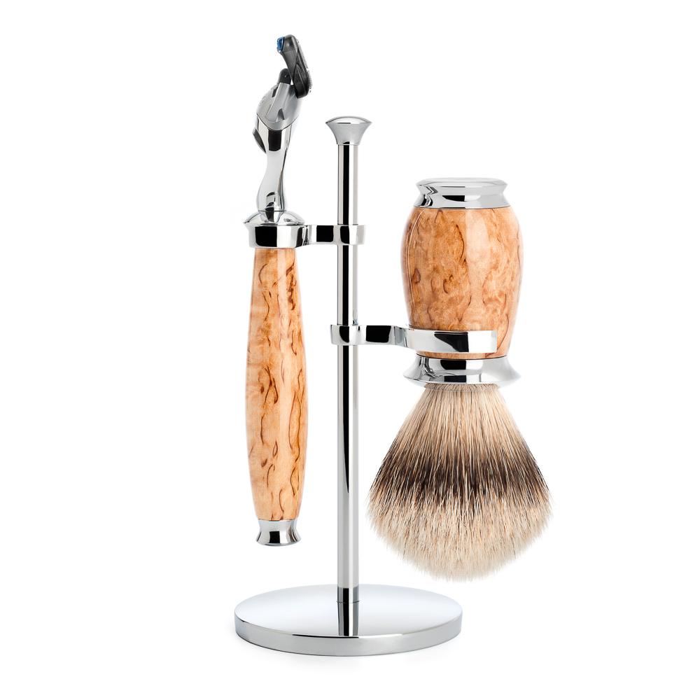 ミューレ PURIST シェービングセット/カレリアンバールバーチ 替刃:Fusion (S091H55F) 【髭剃り ひげ剃り カミソリ かみそり シェービング 剃刀 ジレット フュージョン シェービングブラシ シェービングセット 高級】