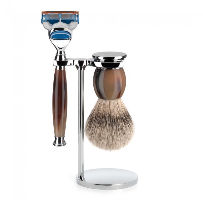 ミューレ SOPHIST シェービングセット/ジェニュイン・ホーン 替刃:Fusion (S93B42F)【髭剃り ひげ剃り カミソリ かみそり シェービング 剃刀 ジレット スタンド シェービングブラシ シェービングセット 水牛 角 高級】