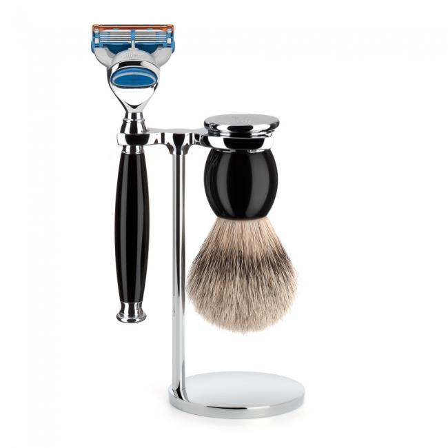 ミューレ SOPHIST シェービングセット/ブラックレジン 替刃:Fusion (S93K44F)【髭剃り ひげ剃り カミソリ かみそり シェービング 剃刀 ジレット フュージョン シェービングブラシ シェービングセット 高級】