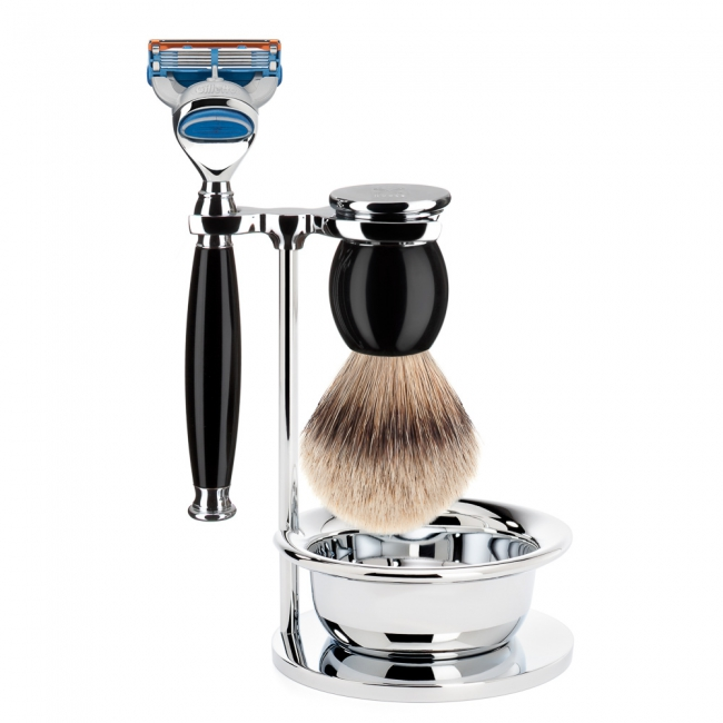 ミューレ SOPHIST シェービングセット・カップ付/ブラックレジン 替刃:Fusion (S93K44SF)【髭剃り ひげ剃り カミソリ かみそり シェービング 剃刀 ジレット フュージョン シェービングブラシ シェービングセット 高級】