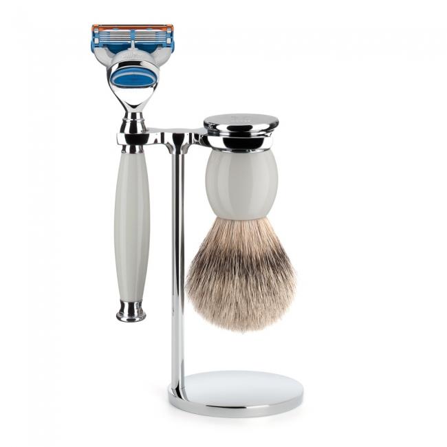 ミューレ SOPHIST シェービングセット/ホワイトポセラン 替刃:Fusion (S93P84F)【髭剃り ひげ剃り カミソリ かみそり シェービング 剃刀 ジレット フュージョン シェービングブラシ シェービングセット 高級】