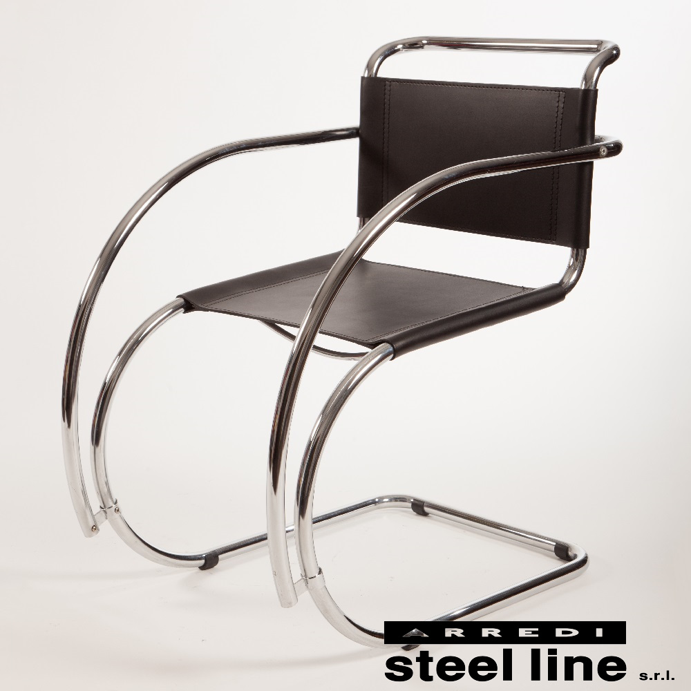 《100%MADE IN ITALY》ミース・ファン・デル・ローエ MR10 Arm Chairスティールライン社DESIGN900