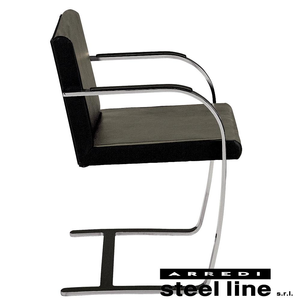 《100%MADE IN ITALY》ミース・ファン・デル・ローエ ブルーノチェア(Brno Chair) スティールライン社DESIGN900