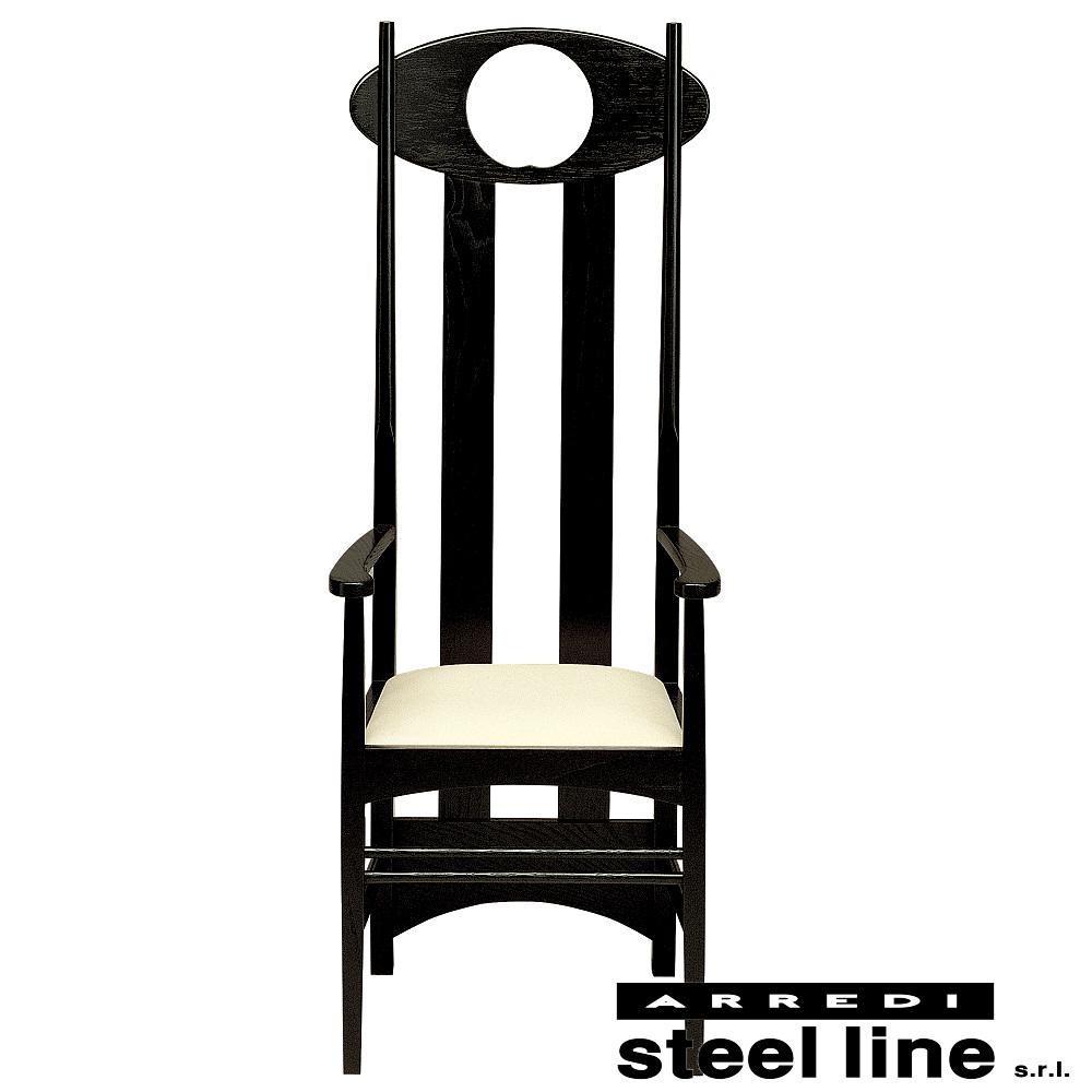 《100%MADE IN ITALY》チャールズ・レニー・マッキントッシュ Argyle Arm Chair (アーガイルアームチェア) 本革仕様スティールライン社DESIGN900