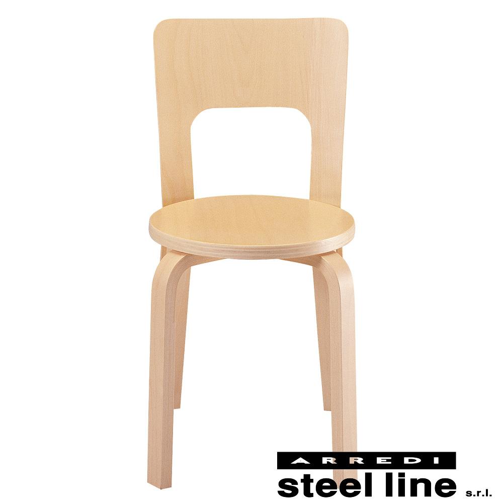 《100%MADE IN ITALY》アルヴァ・アアルト Chair 66スティールライン社DESIGN900