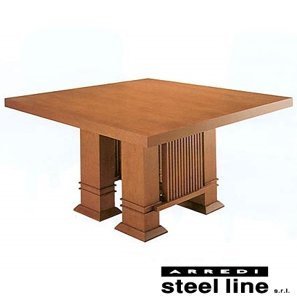 《100%MADE IN ITALY》フランク・ロイド・ライト ALLENダイニングテーブル140×140cmスティールライン社DESIGN900