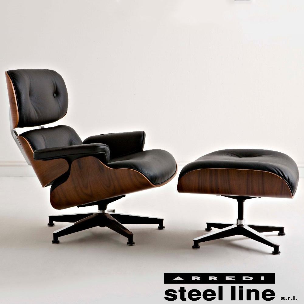 《100%MADE IN ITALY》Eames(チャールズ&レイ イームズ) ラウンジチェアオットマンセットスティールライン社DESIGN900【イームズ】