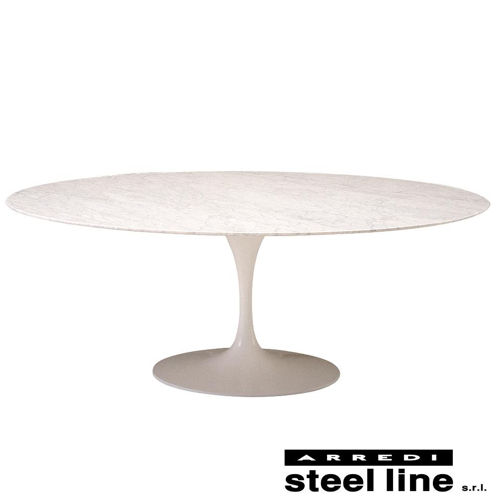 《100%MADE IN ITALY》エーロ・サーリネン チューリップダイニングテーブル 楕円(199×121cm)スティールライン社DESIGN900