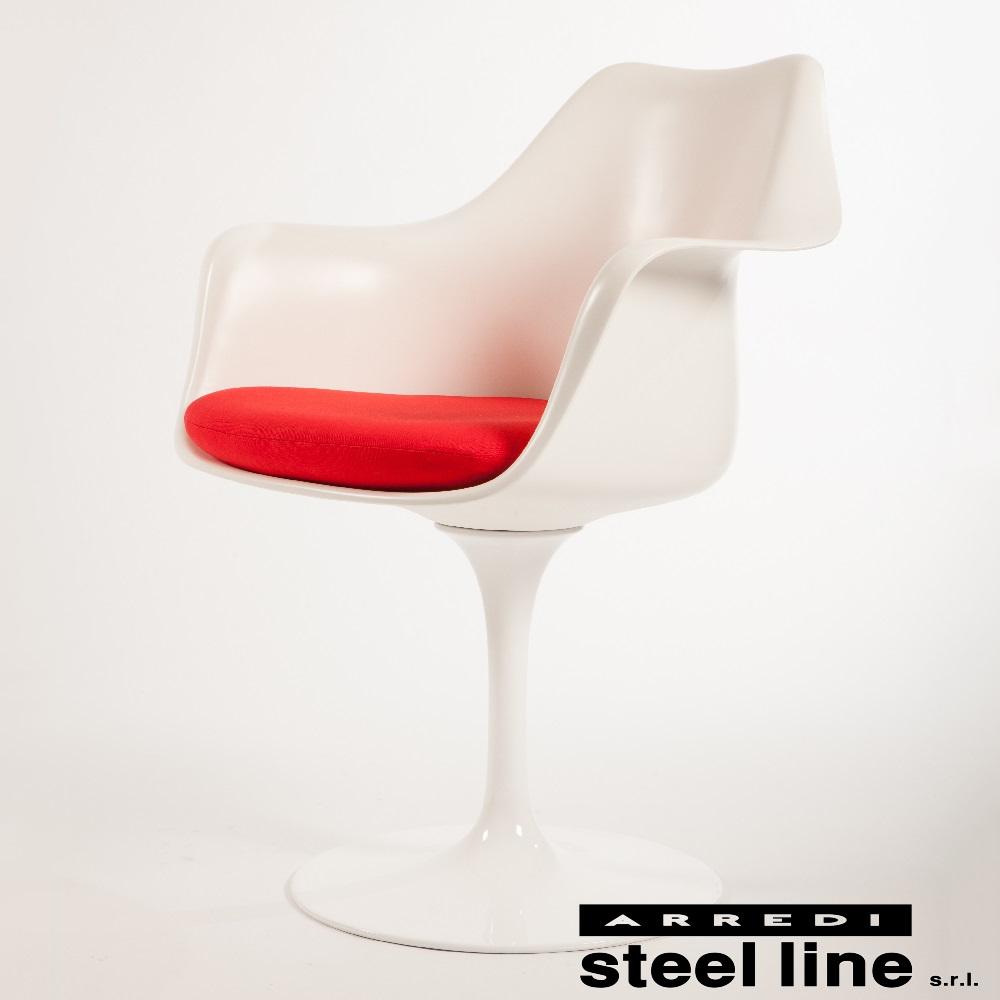 《100%MADE IN ITALY》エーロ・サーリネン チューリップアームチェア スティールライン社DESIGN900