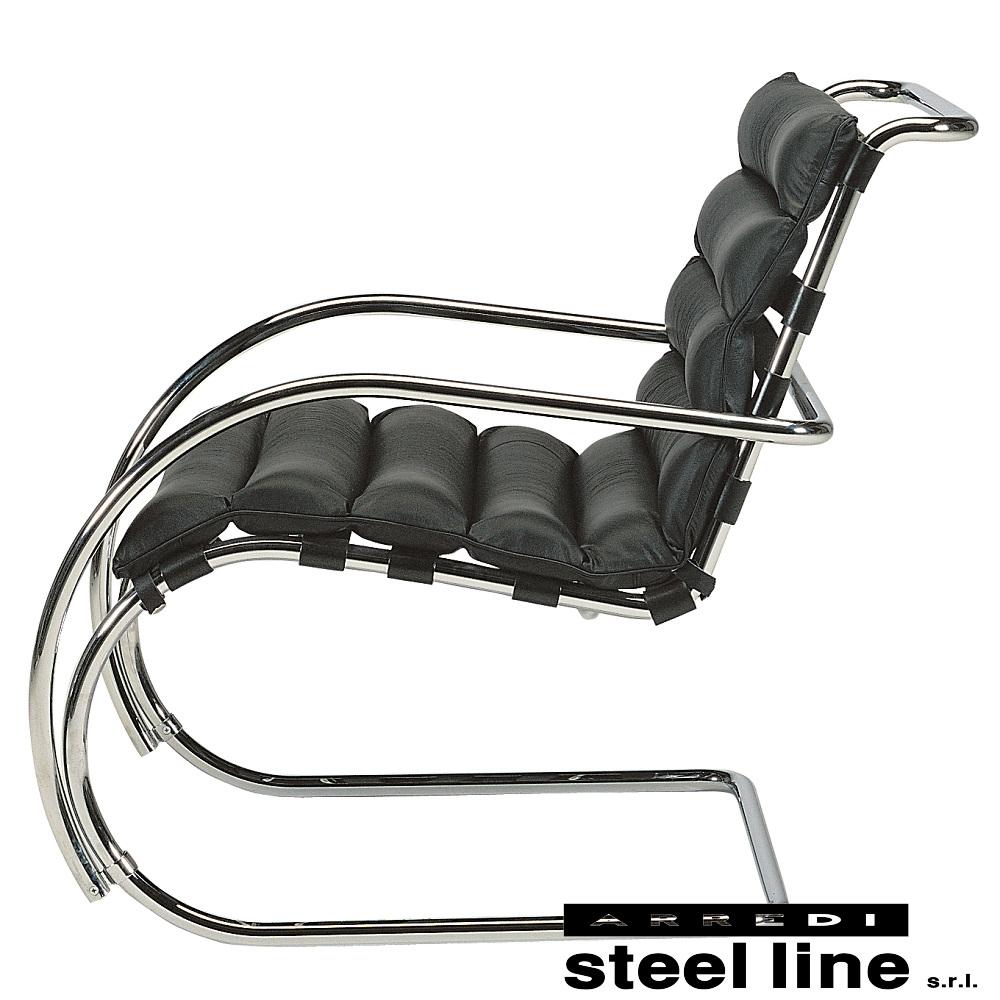 《100%MADE IN ITALY》ミース・ファン・デル・ローエ MRラウンジアームチェア(MR Lounge Arm Chair)スティールライン社DESIGN900