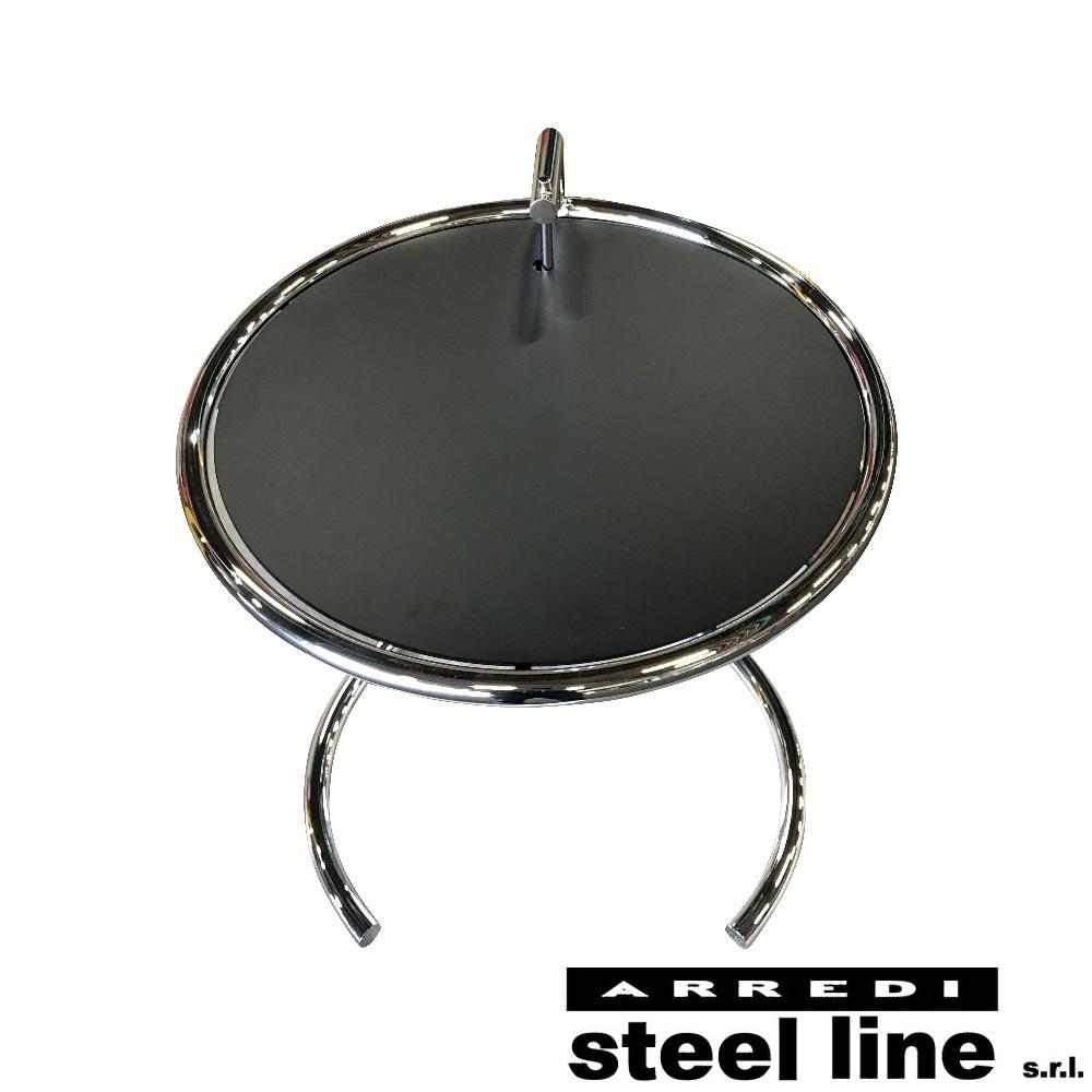 《100%MADE IN ITALY》アイリーン・グレイ E1027 サイドテーブル ブラックメタル天板仕様スティールライン社DESIGN900