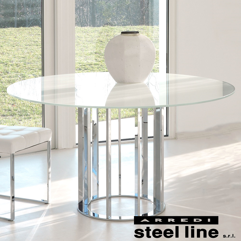 美品  《100%MADE IN ITALY》ASOLO ガラスダイニングテーブル(120cm) スティールライン社LifeClass, アンティークハウス ペルラ 8340485a
