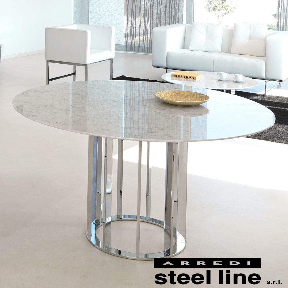 《100%MADE IN ITALY》ASOLO 大理石ダイニングテーブル(φ120cm) スティールライン社LifeClass