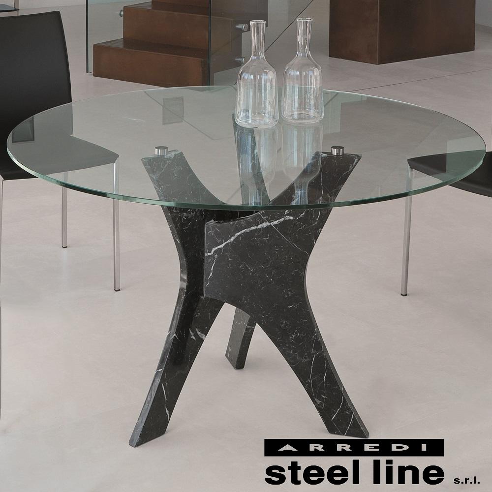 《100%MADE IN ITALY》BRERA ガラスダイニングテーブル(φ120cm) スティールライン社LifeClass