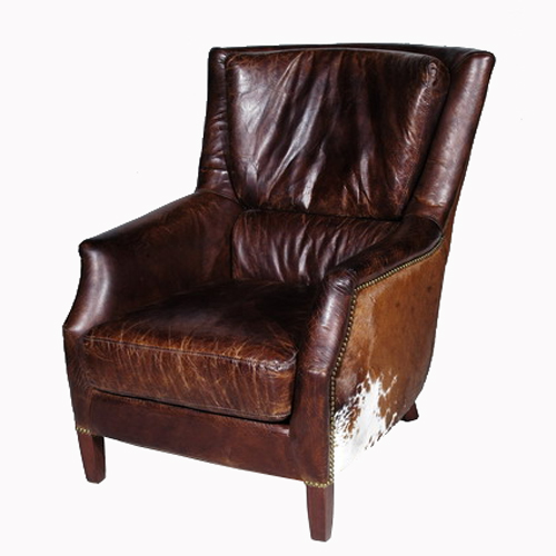 《HALO》ヴィンテージレザーソファ Chelsea Sofa 1P with moo tricolore (Vintage Leather Sofa)【送料無料】 【アンティーク】【ビンテージ】【アニリンレザー】【チェスターフィールド(chesterfield)】 【受注生産対応品:2~3ヶ月】