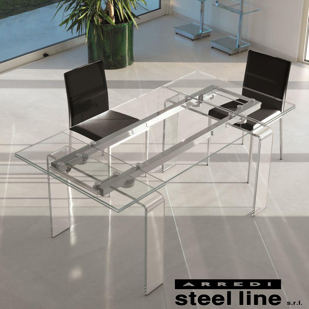 《100%MADE IN ITALY》FORTUNYガラス延長ダイニングテーブル(W160)スティールライン社LifeClass
