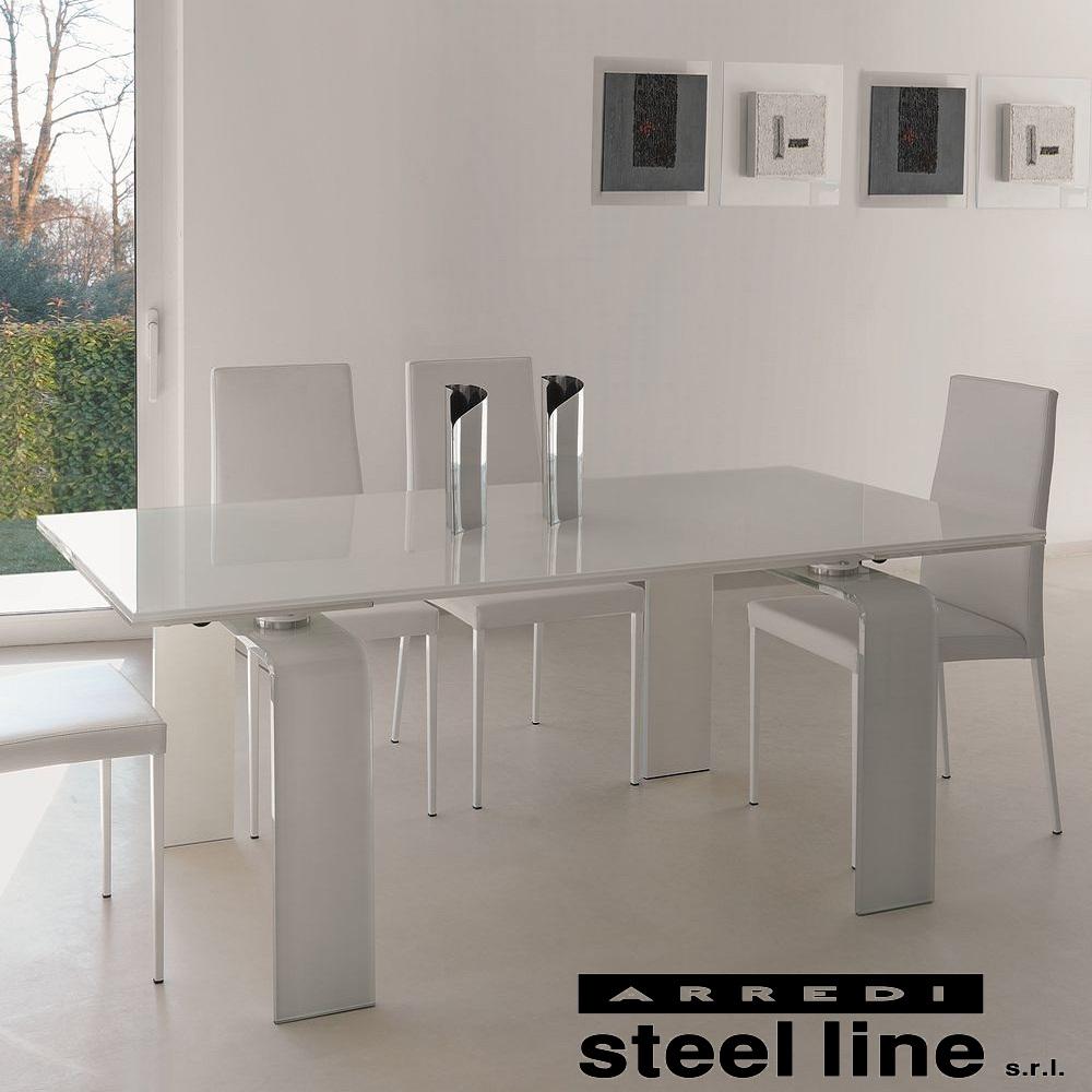 《100%MADE IN ITALY》FORTUNYガラス延長ダイニングテーブル(W160)【ホワイトガラス仕様】スティールライン社LifeClass