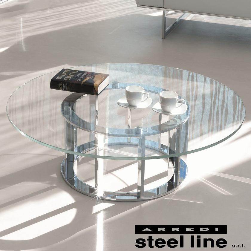 《100%MADE IN ITALY》NAXOS ガラスセンターテーブル スティールライン社LifeClass