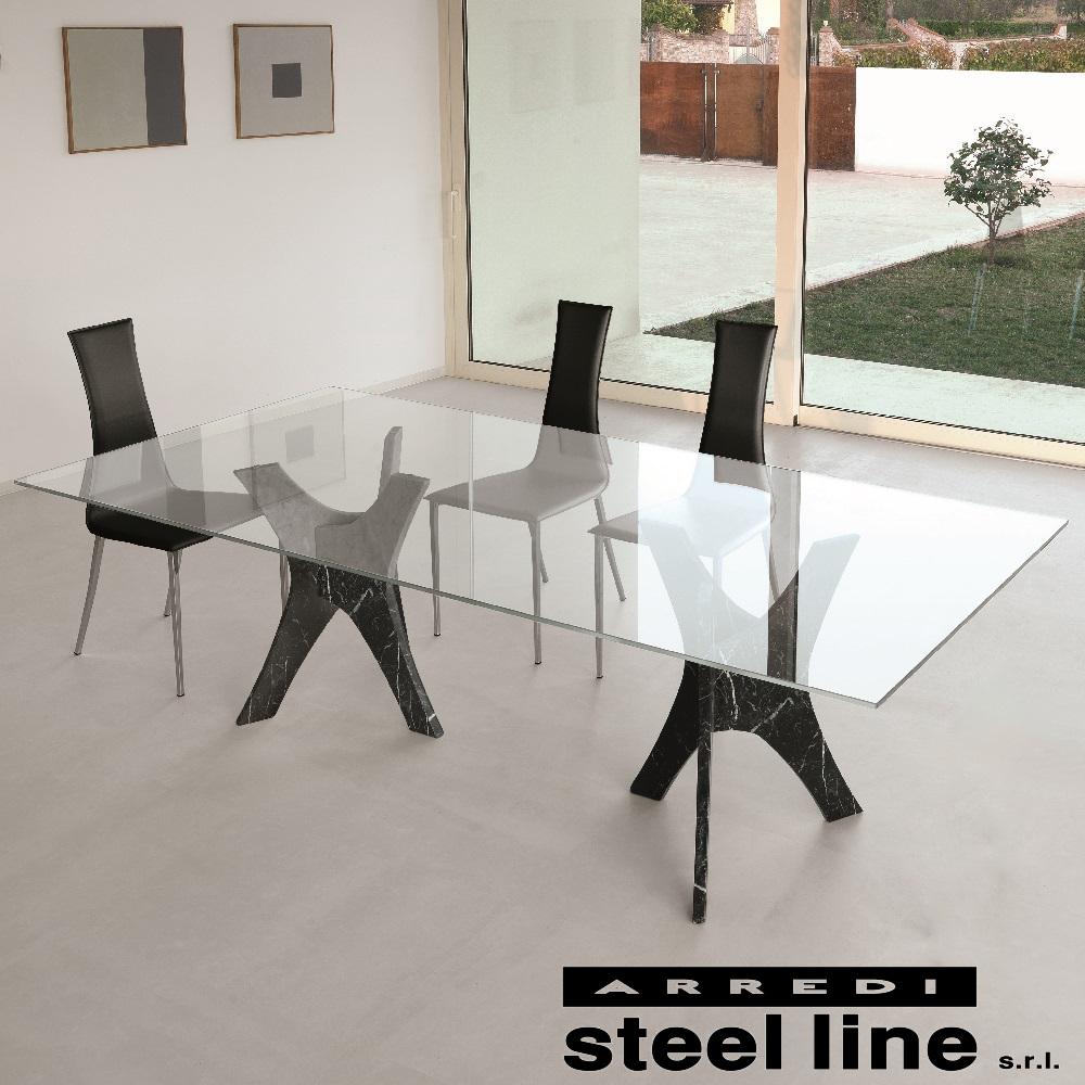 【20%OFFクーポン対象】《100%MADE IN ITALY》PHANTEON ガラスダイニングテーブル(W250cm) スティールライン社LifeClass
