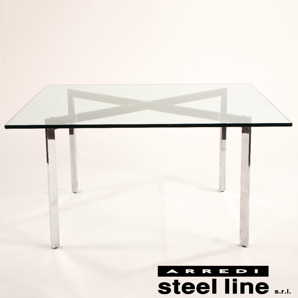 《100%MADE IN ITALY》ミース・ファン・デル・ローエ バルセロナ テーブル(Barcelona Table) スティールライン社DESIGN900