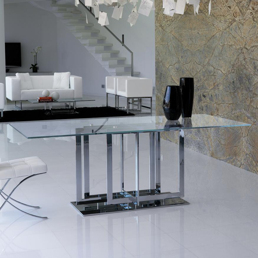 《100%MADE IN ITALY》TRILOGY ガラスダイニングテーブル スティールライン社LifeClass
