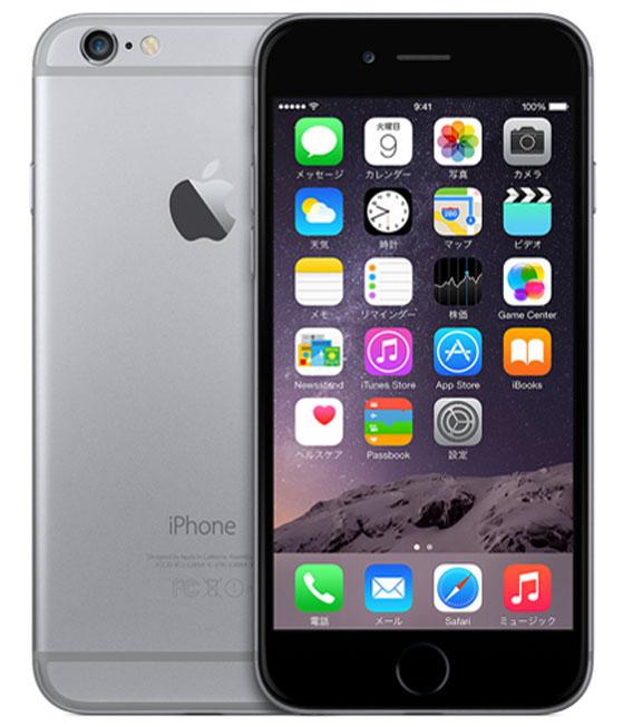 【中古】【安心保証】au iPhone6[128G] スペースグレイ
