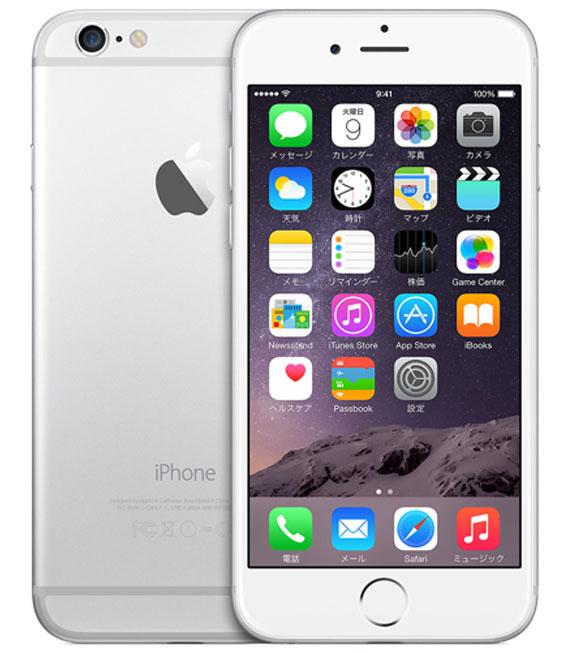 【中古】【安心保証】 au iPhone6[128GB] シルバー