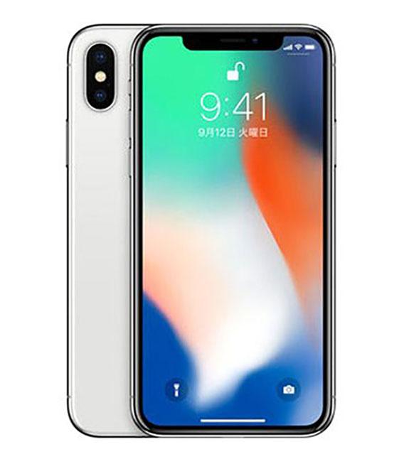 【中古】【安心保証】 au iPhoneX[64G] シルバー SIMロック解除済