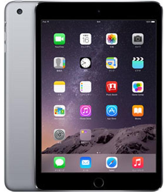 【中古】【安心保証】au iPadmini3[WiFi+4G 16] グレイ