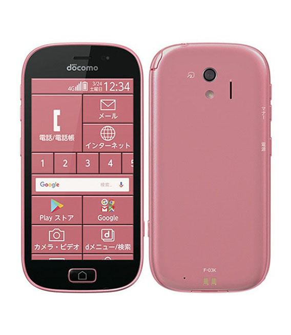 本体 白ロム Androidスマートフォン Aランク ドコモ らくらくスマートフォン Fー03K おすすめ docomo 安心保証 中古 ピンク 与え