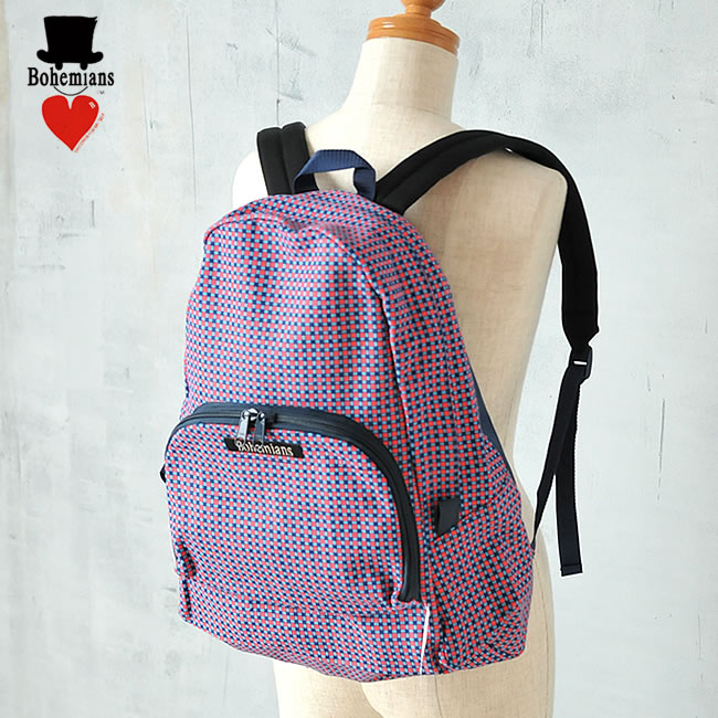 【Bohemians ボヘミアンズ】送料無料!フェイクギンガム柄バックパック(レッド)  BB-61 BACK PACK FAKE GINGHAM リュック バッグ 男女兼用【郵便局/コンビニ受取対応】