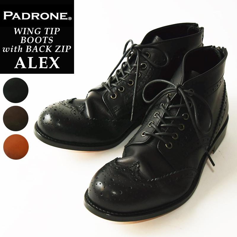 2019秋冬新作 【期間限定!ポイント10倍】パドローネ パドロネ PADRONE アレックス ALEX ウイングチップ ブーツ バックジップ WING TIP BOOTS with BACK ZIP メンズ 革靴 PU8054-1138