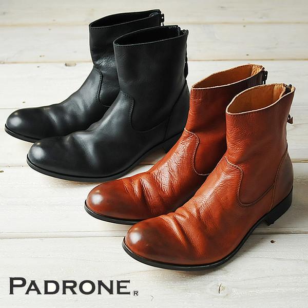 【人気第5位】【期間限定!ポイント11倍】パドローネ PADRONE パドロネ プレーントゥブーツ(バックジップ)