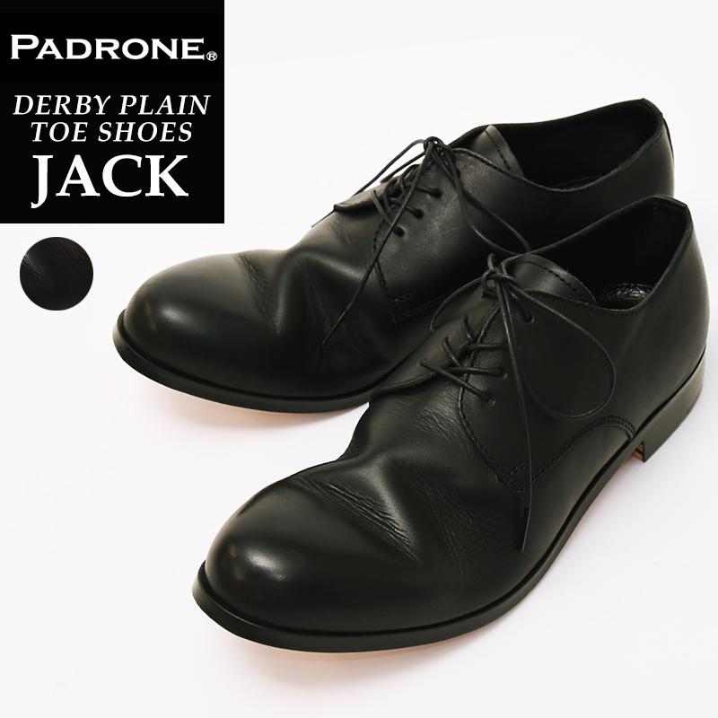 【期間限定!ポイント10倍】パドローネ PADRONE パドロネ JACK ジャック BLACK ブラック ダービープレーントゥシューズ メンズ 革靴 短靴 PU7358-2001-11C