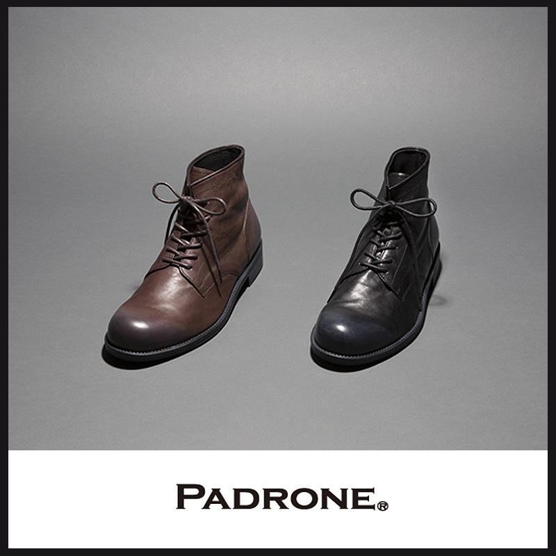 パドローネ PADRONE パドロネ レースアップ ブーツ ROMANO(ロマノ) PU8586-1107 メンズ ホワイトワックス加工