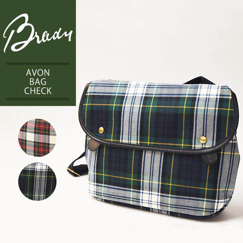 ラッピング無料 ブレディ BRADY エイボン AVON タータンチェック ショルダーバッグ レディース メンズ 軽量 キャンバス 布 ウール 大きめ 赤 緑 鞄 かばん バッグ