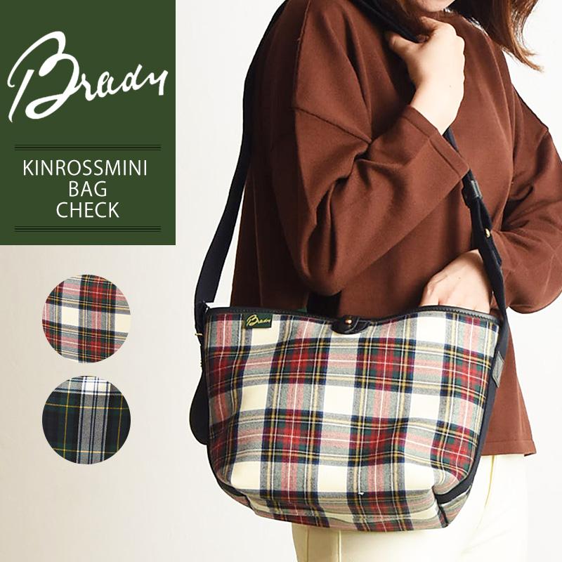 ラッピング無料 ブレディ BRADY キンロスミニ KINROSS MINI タータンチェック ショルダーバッグ レディース メンズ 軽量 キャンバス 布 ウール 大きめ 赤 緑 鞄 かばん バッグ