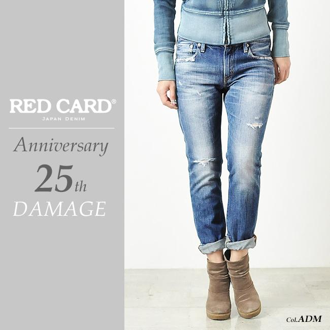 裾上げ無料 レッドカード RED CARD Anniversary 25th アニバーサリー ボーイフレンド テーパードデニムパンツ25周年モデル(ダメージ)REDCARD 13506-1