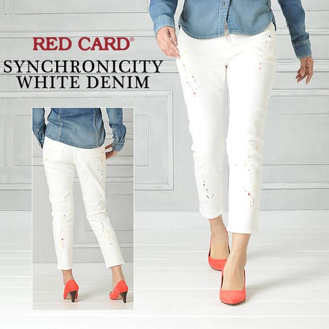 SALEセール30%OFF 裾上げ無料 レッドカード RED CARD Synchronicity ホワイトデニム(ペイント)RED CARD 12507