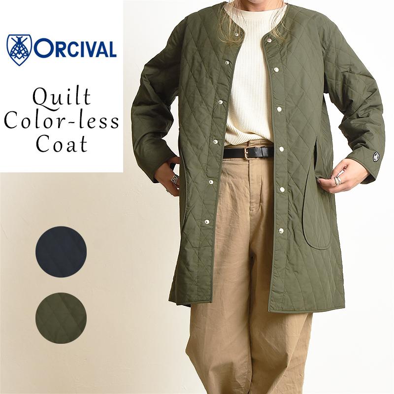 オーチバル/オーシバル Orcival キルト カラーレスコート レディース ノーカラーコート ロング インナーコート RC-8922