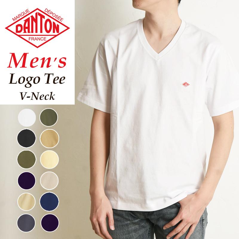 正規取扱店 タフでヨレにくい 本店 高品質なベーシツク半袖Tシャツ お買い物マラソン期間限定ポイント2倍 2021春夏新作 DANTON ダントン 半袖 ロゴ Tシャツ Vネック カットソー メンズ 上等 ロゴT JD-9213 人気 gs2