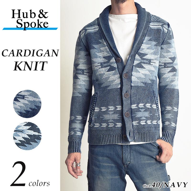 HUB&SPOKE ハブアンドスポーク ネイティブ柄 インディゴ染め ニット ショールカーディガン メンズ 373814