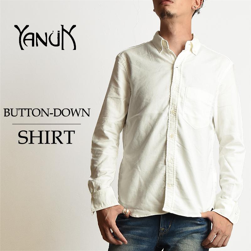 ヤヌーク YANUK メンズ ボタンダウン 長袖白シャツ 57263019 オックスフォードシャツ カジュアル B D SHIRT