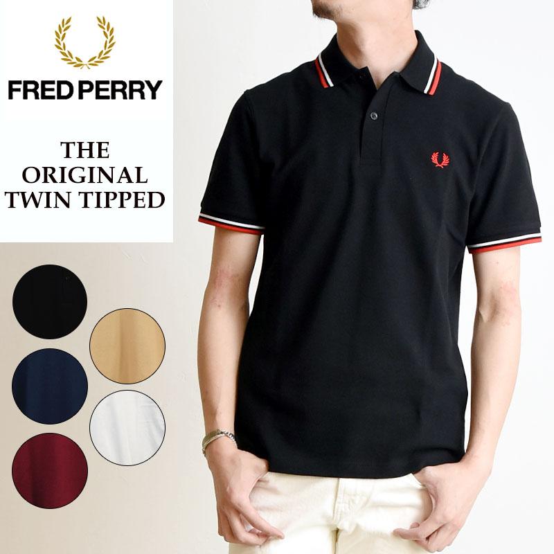 FRED PERRY フレッドペリー ツインティップ ポロシャツ 半袖 メンズ 鹿の子 白 M12N