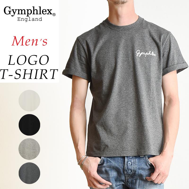 2019春夏新作 Gymphlex ジムフレックス 折り返し袖 ロゴ 半袖 Tシャツ メンズ 無地 J-1155CH
